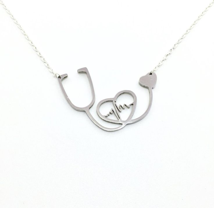 Beautiful Heart EKG Stethoscope Necklace. This is a wonderful gift for anyone in the medical field or could be a sentimental gift to anyone that you love or a memorial necklace. This is a wonderful Gi