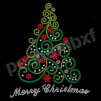 Merry Christmas And Beautiful Christmas Tree Iron On Rhinestone Motif