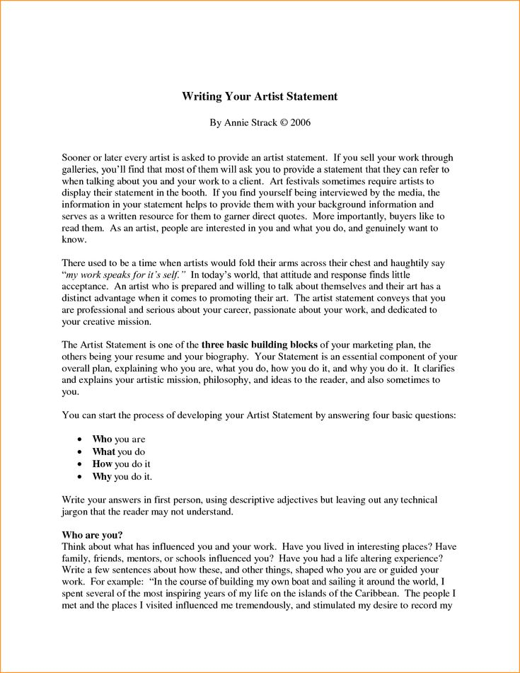 How To Write An Amazing Artist Statement - Experts' opinions