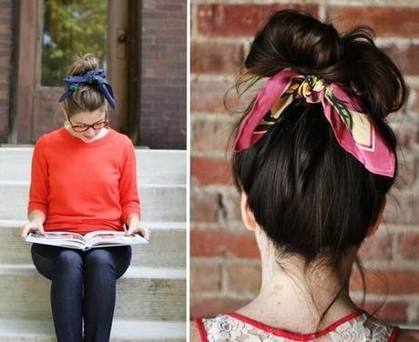 Nouer un foulard dans les cheveux : le chignon