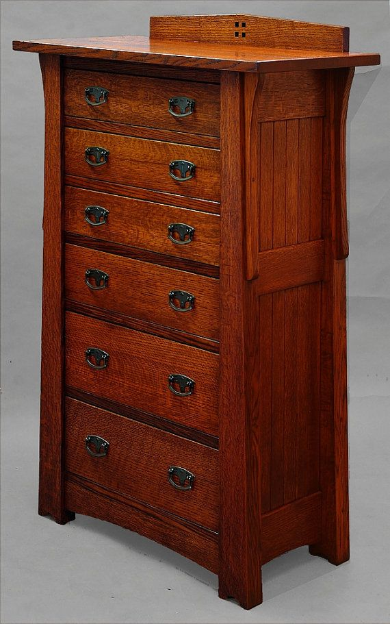Mackintosh, Arts & Crafts, Quartersawn Oak 6 Drawer Lingerie, Linen Chest / Childs Dresser  OUTER DIMENSIONS OF DRAWERS 3 SMALLER DRAWERS 5 tall x