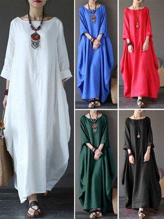1327cc7db6 ... Half Sleeve Paneled Summer Dress. Women Casual Dress Crew Neck Cocoon  Daytime Long Sleeve Casual Dress
