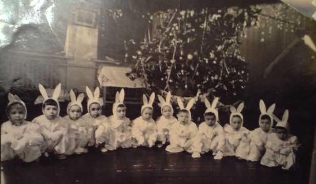 "Vintage photograph of little kids dressed as bunny rabbits.    "":O)"