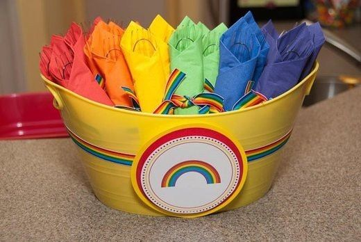 Rainbow Party ideas -love this tub of   cutlery sets!