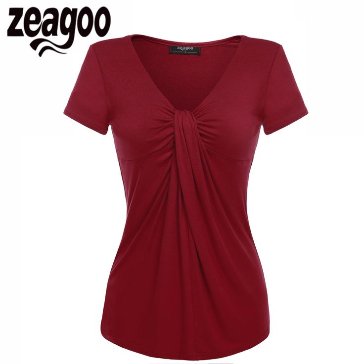 Zeagoo Women V-Neck Short Sleeve T-Shirt Solid Casual Lady Summer Tee Tops Twist Knot Front T shirt Tees Top 10 Colors S M L XL #Affiliate