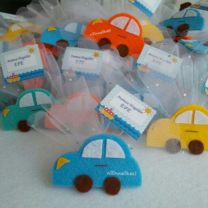 Keçe erkek bebek şekeri araba magnet