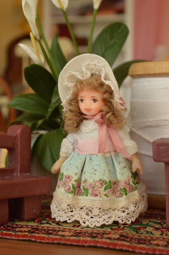 Miniature Doll Polymer  Clay Girl 1:24 Scale Miniatures