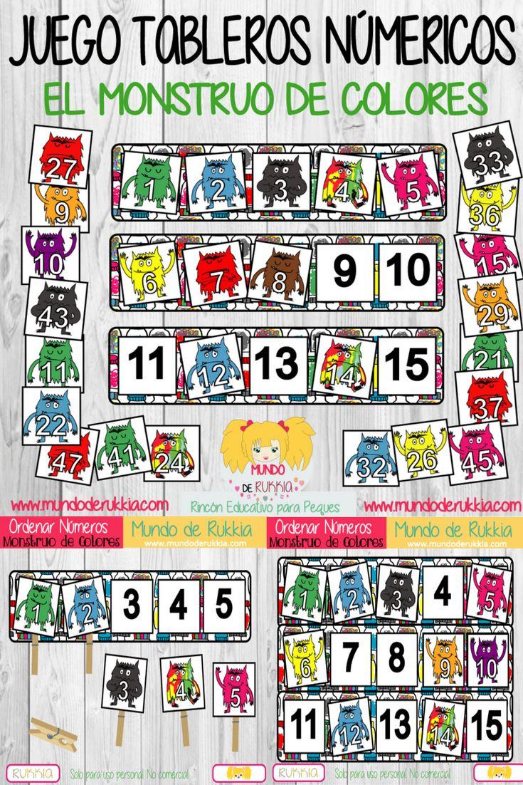 tableros numericos, monstruo de colores, monstruo de colores actividades, monstruo de colores juego, monstruo de colores manualidad, ficha matematicas, aprender numeros, ficha numeros, juego numeros, the color monster, the color monster game, the color monster printables, the color monster crafts,