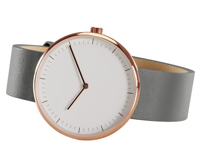 Molvena Watch, Rose Gold & Grey Leather Strap