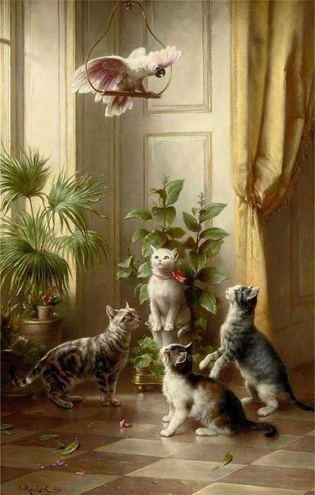 Les chats et les cacatoès de Carl Reichert (1836-1918, Germany)