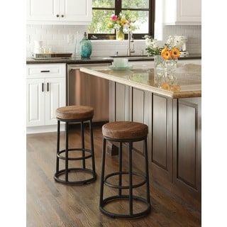 For Willow Reclaimed Wood And Iron 24 Inch Backless Counter Stool By Kosas Home Get Free Shipping At Your Online Furniture Outlet