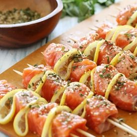 Grilled Salmon Skewers- paired with a green salad, these salmon skewers make for a perfect summer dinner.