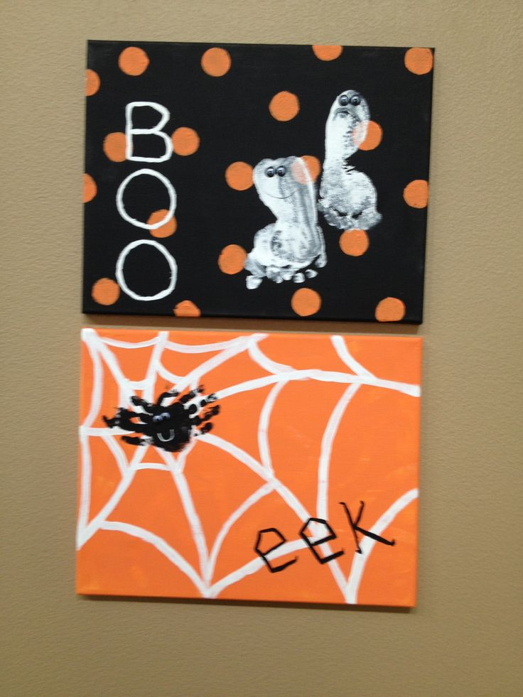 My kids hands and feet prints made into Halloween decorations
