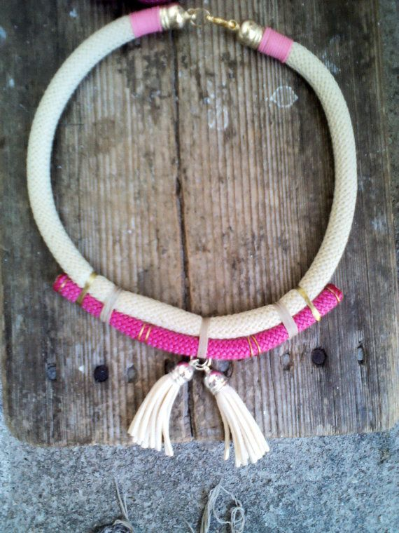 Necklace from beige and pink green rope with two beige by bizeli, €12.00