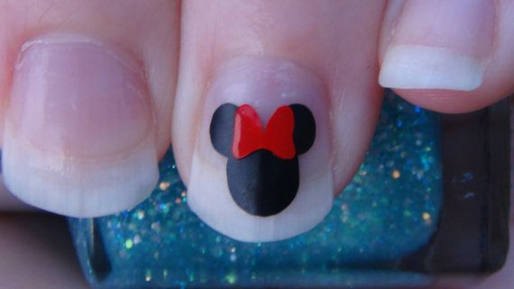40 MINNIE MOUSE Size LARGE with Bow Inspired Nail Art Decals Vinyl 80 Stickers Applique Manicure Pedicure Party Event Accessories