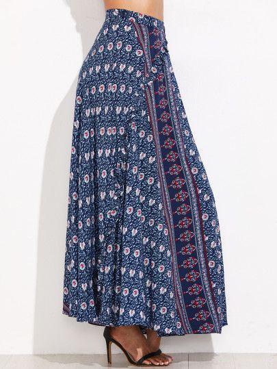 Jupe imprimé tribal taille haut avec bouton -bleu