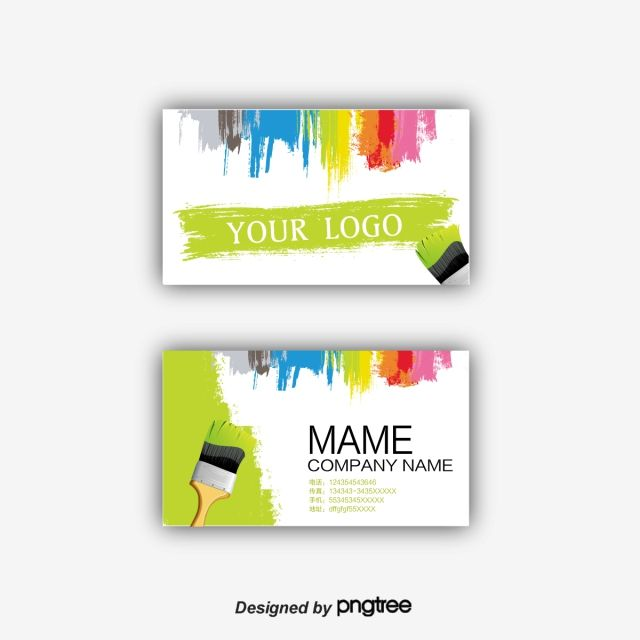 Paint Business Card Design Decoration Paint Decoration Interior Png And Vector With Transparent Background For Free Download Painted Business Cards Card Design Business Cards Creative