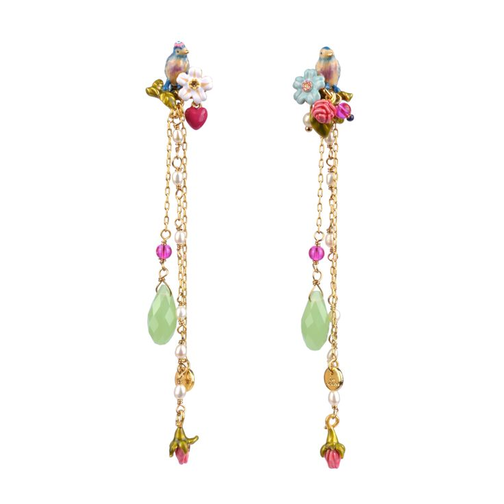 Collection Jardin d'Amour http://shop.lesnereides.com/earrings/2871-couple-of-tits-with-beads-pendant-stud-earrings-3700377792191.html