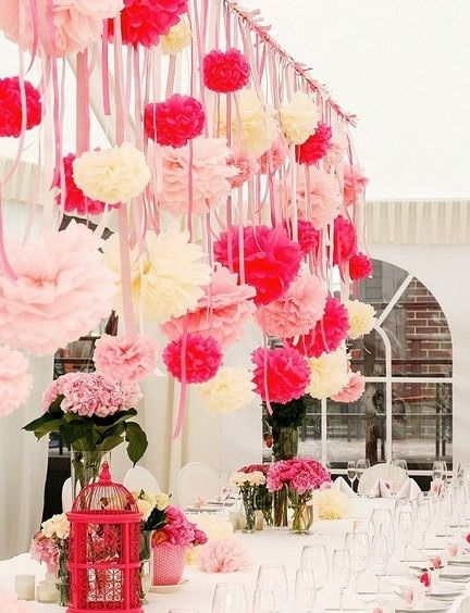 a backdrop curtain of paper pom poms, tassels and more...
