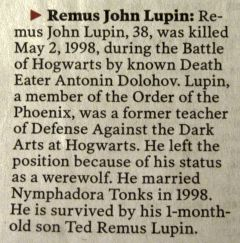 Sob...Professor Lupin, Harry Potter Remus Lupin, Lupin Obituary, Hogwarts Obituary, Battle Of Hogwarts, Book, My Heart, Hp Facts, Movie Fans Harry Potter