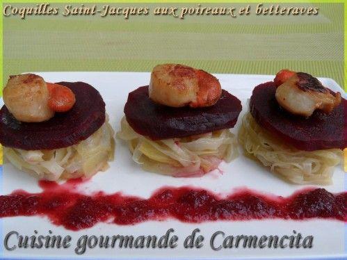 Coquilles Saint Jacques aux poireaux et betterave http://www.carmen-cuisine.com/article-coquilles-saint-jacques-aux-poireaux-et-betteraves-74222109.html