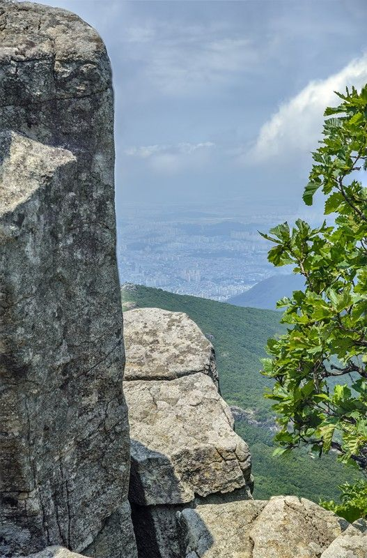 Gwangju from one of Mt. Mudeungsan's rock pillar peaks, South Korea