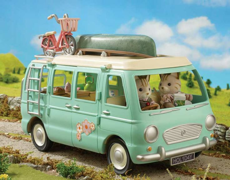 Sylvanian Families Macavity Cat Family and the family camper van.