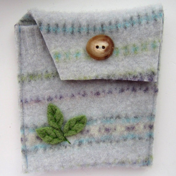 Recycled Sweater Coin Purse Pouch Stripes and by SesameSeedDesigns, $15.00
