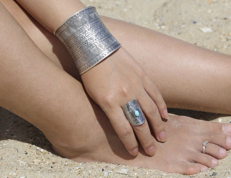 Tribal Statement Cuff with matching turquoise stamped ring, sterling silver, tribal silver