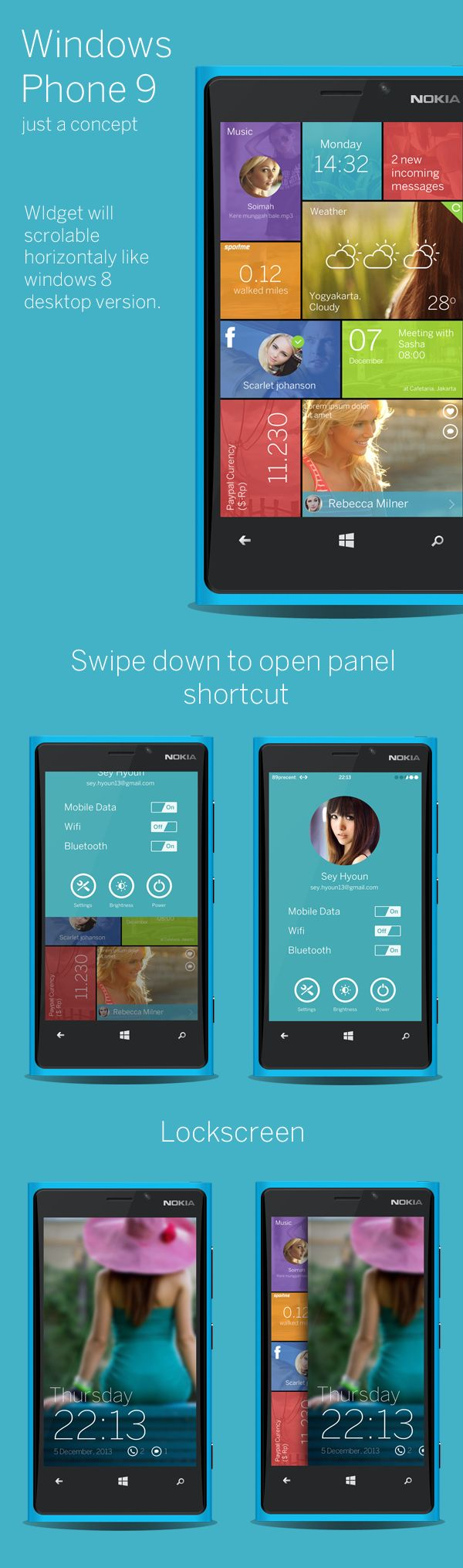 Windows Phone 9 concept by Ghani Pradita, via Behance