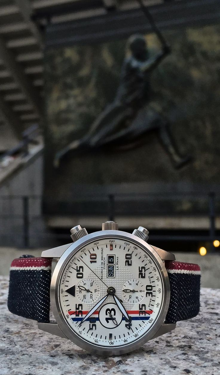 Maurice de Mauriac Chronograph Modern, Le Mans Racing watch. mechanical-automatic Swiss Valjoux movement (ETA 7750) refind stainless steel case 316L | Ø 45 mm screw crown, screw pusher | open case back sapphire crystal with anti-reflective treatment on both sides