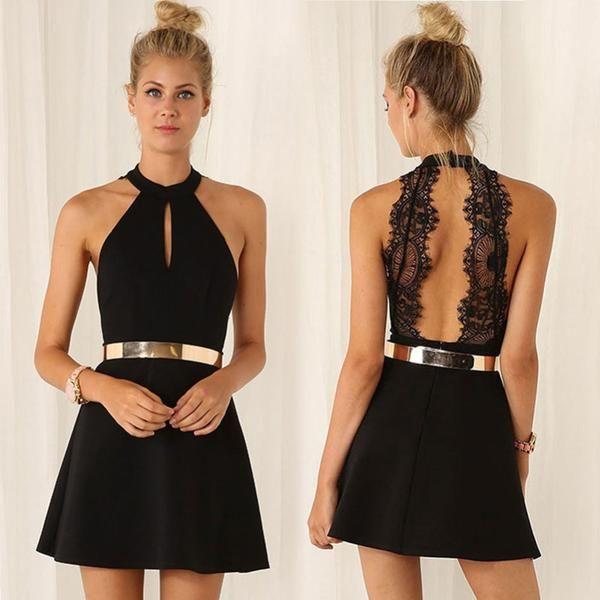 ≫∙∙Black Lace Sexy Sleeveless Evening Party Club Dress ∙≪