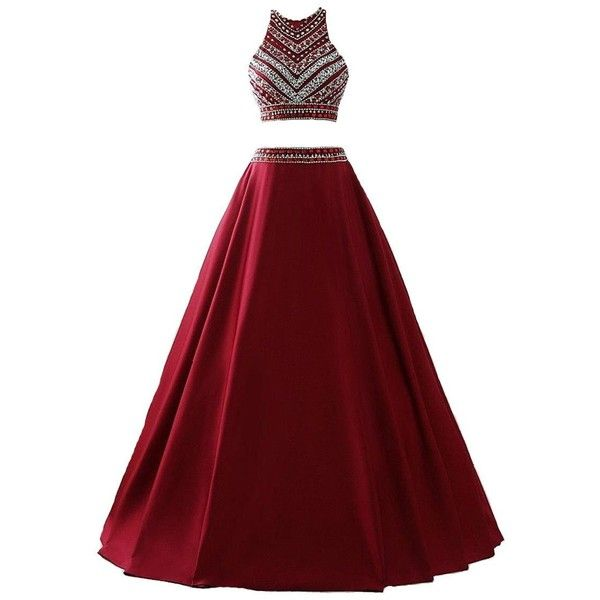 Amazon.com: Himoda Women's Two Pieces Beaded Evening Gowns Satin... ($79) ❤ liked on Polyvore featuring dresses, gowns, red ball gown, long sequin gown, long prom dresses, long red dress and red sequin dress