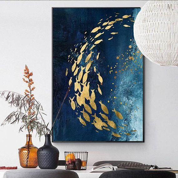 Modern Abstract Gold fish canvas painting blue acrylic texture