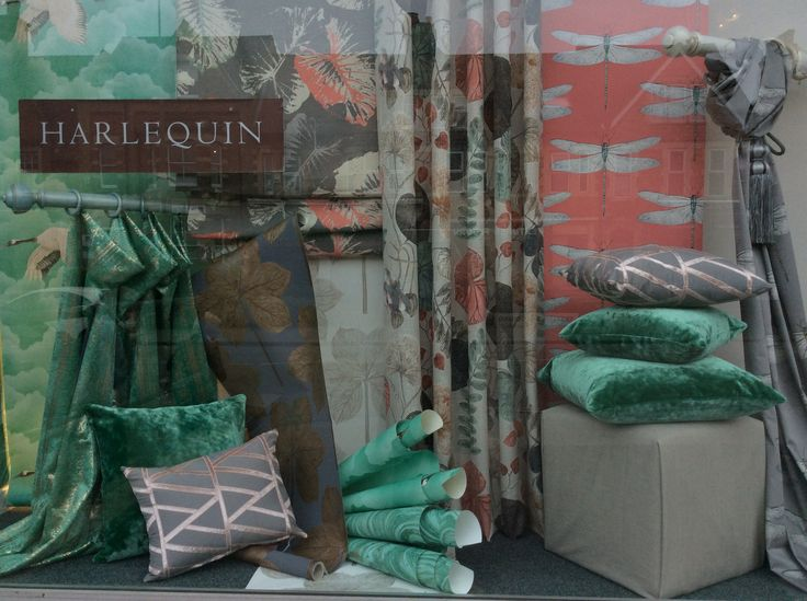 Harlequin palmetto fabrics and wallpapers. New shop window display, The Curtain shop oxford.