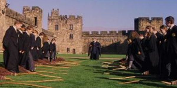 Harry's first flying lesson in the castle's Outer Bailey