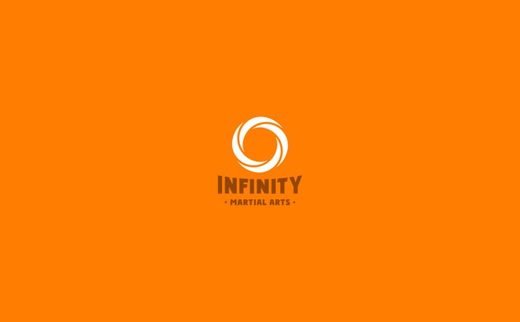 Infinity Martial Arts Logo & Identity Design on Behance by graphic designer & illustrator Catherine Uvarova. #branding #tshirt #inspiration #corporate #visual #identity #logo #martial #art #design #black #orange #tangerine #mobius