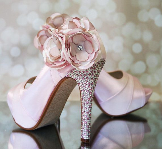 Wedding Shoes - Paradise Pink Platform Peeptoe Custom Wedding Shoes with Shades of Pink Flower and Silver and Pink Crystal Heel