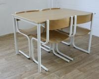 Retro Danish school canteen table and chairs