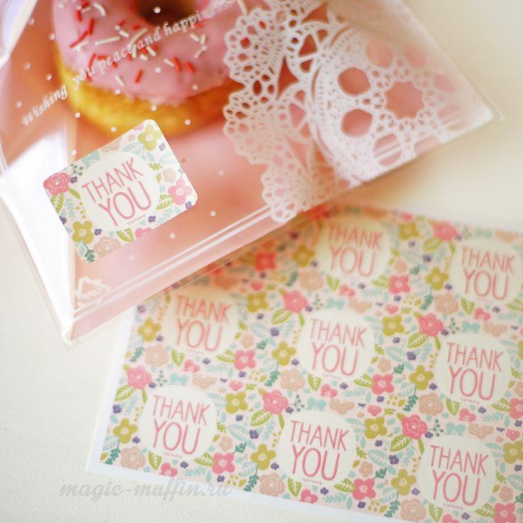 Наклейки с цветами: Thank You печенье пончик наклейка упаковка пакет cookies donut stiker wrapping bag decor