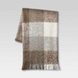Plaid Faux Mohair Throw Blanket - Threshold™
