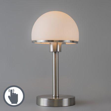 Stimmungsvolle #Tischleuchte mit einem Fuß aus stahl und #Touch - Funktion und einem opal - weißem #Glasschirm. #lampenundleuchten.at