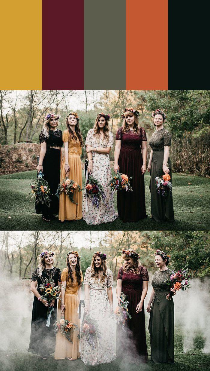 13 Mismatched Bridesmaid Dress Color Palettes Junebug Weddings Bridesmaid Dresses Color Palette Bridesmaid Dress Colors Bridesmaid Palette