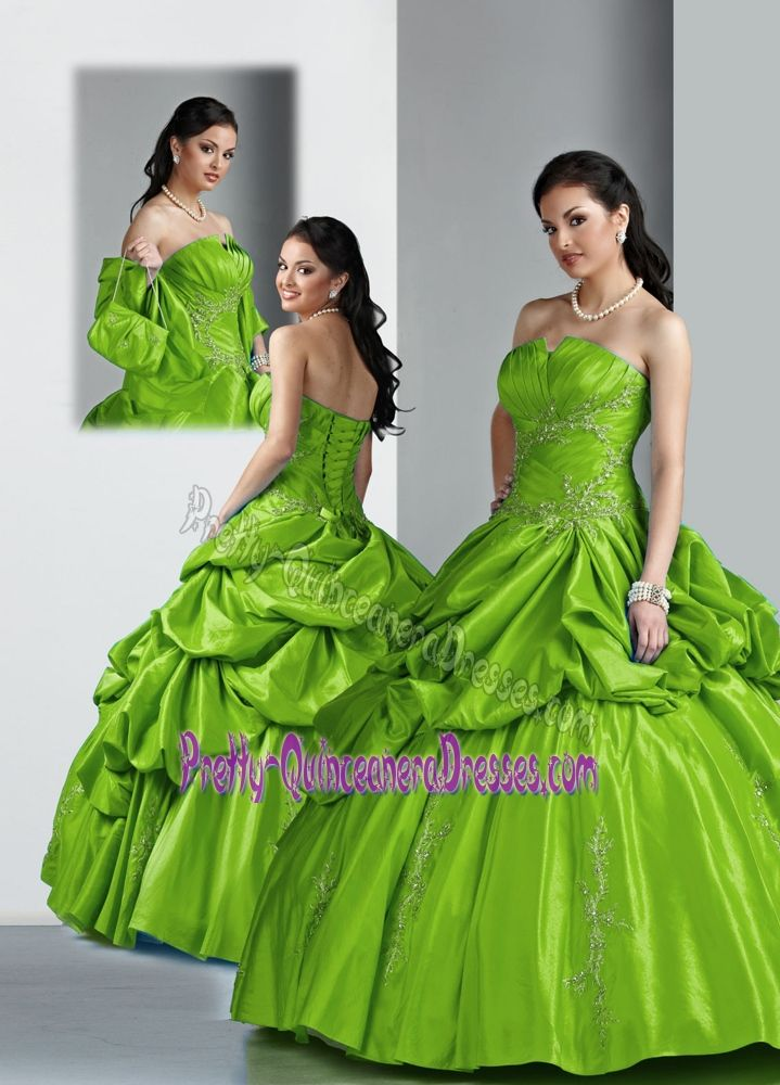 Graceful Strapless Olive Green Beading Decorated Sweet Fifteen Dress in Perth Tayside