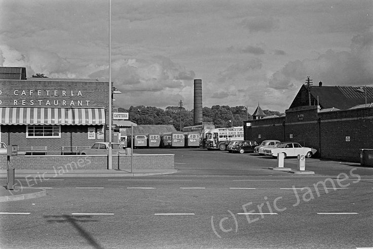 PMT bus garage and Four in hand cafe. Liverpool Road.