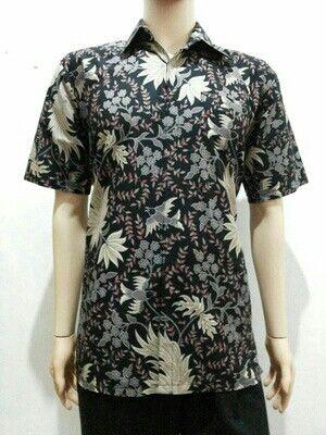 Kemeja kantor batik motif daun batik solo 80000