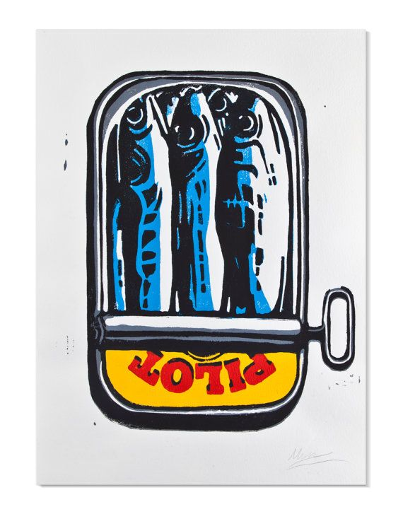 Original signed handmade reduction linocut of Sardines in a Sardine Tin made by graphic deisgner Matt Lurcock in Dec 2013 on Hahnemuehle paper.