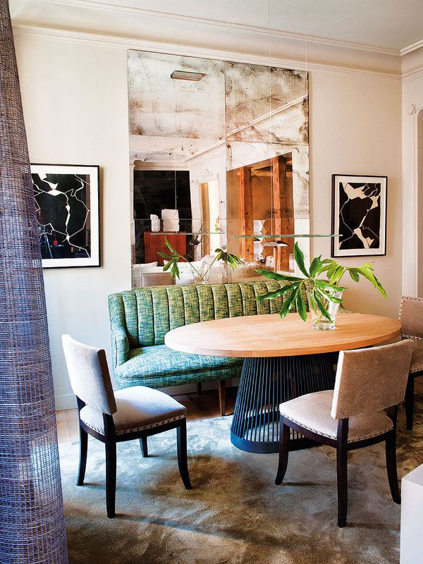 Pascua Ortega - Madrid dining with aged mirrors and Pablo Palazuelo art