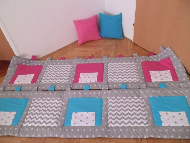 kapsář za postel 100% bavlna vyztuženo 200g vatelínem prát na 30°C rozměr:200x50cm 5x kapsa 34x30cm 11x poutko cena za jeden kus