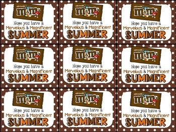 M&M End of Year Gift Tag-Hope you have a marvelous and magnificent summer